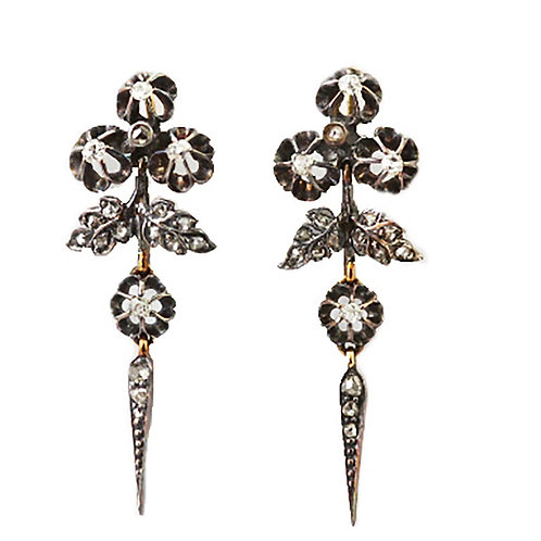 Antique Victorian Old Mine & Rose Cut Diamond Drop Flower Earrings