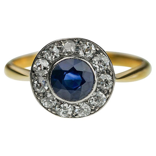 Antique 1900 Sapphire & Old European Cut Diamond Round Cluster Ring