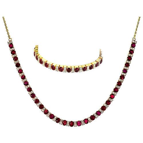 GCS Certified Natural Burmese/Myanmar Ruby & Diamond Necklace & Bracelet, Retro