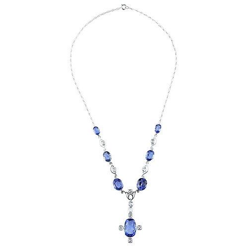 GCS Certified Natural Sri Lanka Sapphire 21ct & Diamond Antique Necklace/Tiara