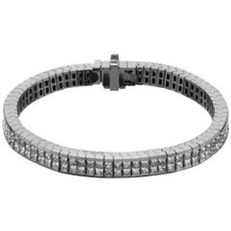Princess Cut Diamond Invisible Setting Flexible Bracelet in 18 Carat White Gold