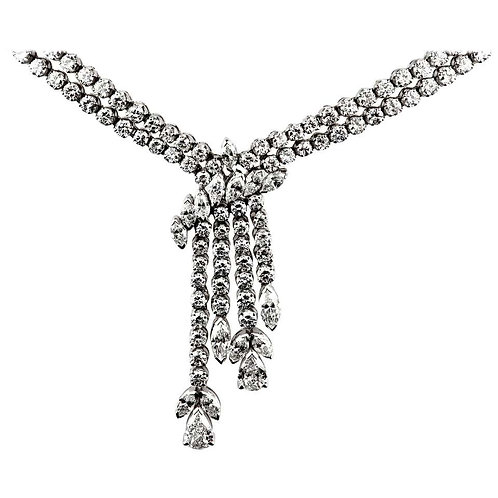 Diamond Drop Necklace Design as Single and Double Row, in 18 Carat White Gold