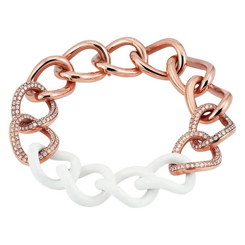Limited Edition 18K Rose Gold Diamond & Hand Carved White Agate Curb Bracelet