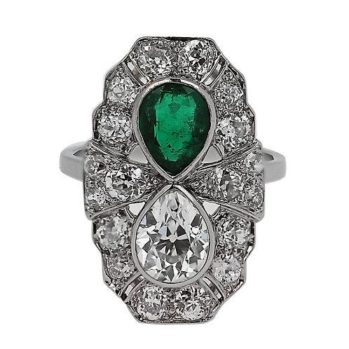 Art Deco 1920s Pear Shape Diamond & Emerald Platinum Ring