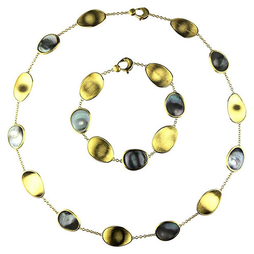Marco Bicego Lunaria 18 Karat Gold Black Mother of Pearl Necklace and Bracelet