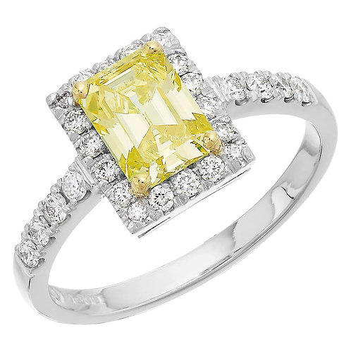 GCS Certified 1.05 Carat Fancy Intense Yellow Diamond, Emerald Cut Ring