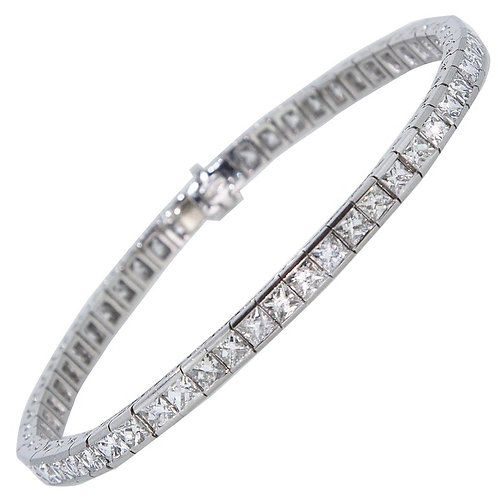 Art Deco 1920 French Cut Diamond Line Tennis Bracelet in Platinum
