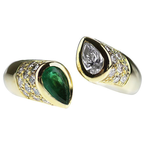 Pear Shape Emerald & Diamond Open Ring in 18K Yellow Gold