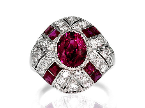 GCS Certified Burmese/Myanmar Natural Ruby 2.3 ct & Diamond Ring, Retro 1940's