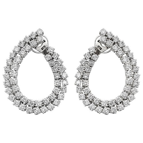 Diamond 12.5 ct Double Hoop Earrings in pin & Omega clip on fittings 18 ct Gold