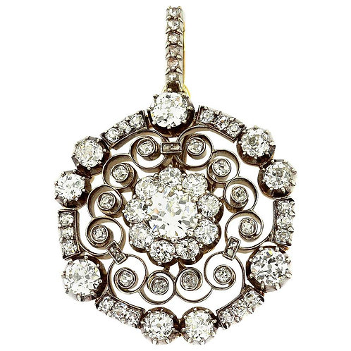 Antique Victorian Old European Cut Diamond Circular Pendant