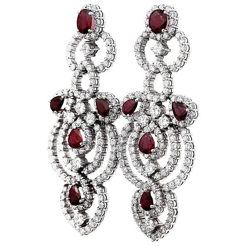 Pair of Ruby and Diamond Pendent or Drop Earrings in 18 Carat White Gold