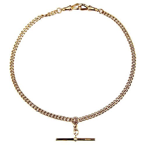 Antique Double Albert Watch Rose Gold Chain, British Hallmarked Chester, 1919