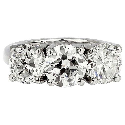 Old European Cut Diamonds, Three-Stone Ring Set in Platinum