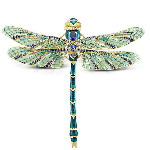 Plique A Jour, Guilloche Enamel flexible dragon fly brooch Sapphire 18 ct Gold