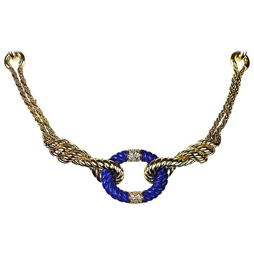 Van Cleef & Arpels, Retro Diamond and Lapis Lazuli Rope Twist Necklace in Gold