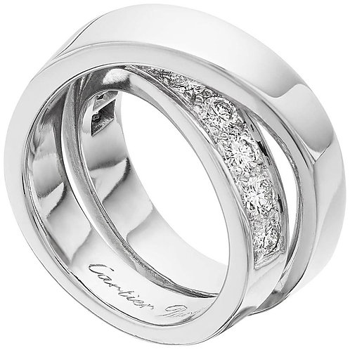 "Cartier French ""Noubelle Vague Etincelle"" Diamond Ring 18 ct White Gold"