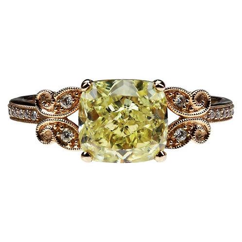 GIA Certified Fancy Yellow 2.02 Carat Cushion Cut Single Stone Diamond Ring