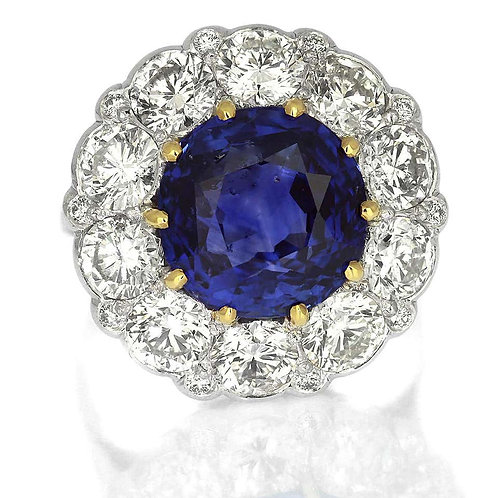 Certified Sapphire, Unheated Natural Sri Lanka 10.6 ct & Diamond Cluster Ring
