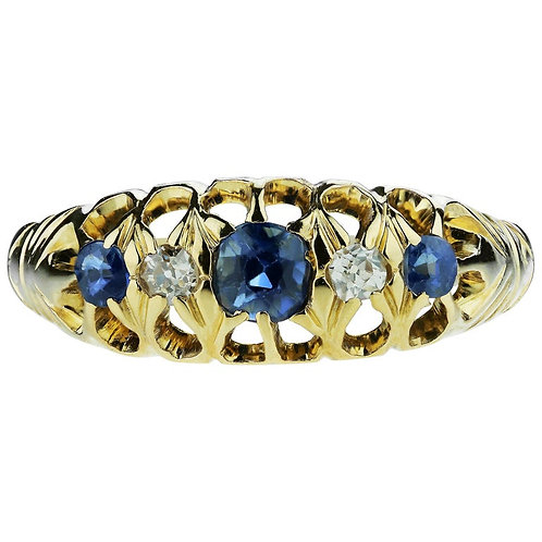 Antique Edwardian British Hallmarked 18k Old European Diamond and Sapphire Ring
