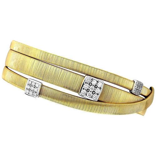 Marcp Bicego Masai, Diamonds Three-Strand Crossover Bracelet in 18K Yellow Gold
