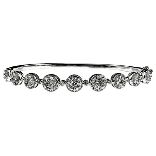 Cluster Diamond Bangle in 18 Carat White Gold