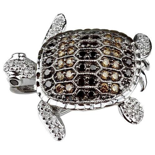 Turtle/Tortoise Multi-Color Diamonds Set Pendant/Brooch in 18 Carat White Gold