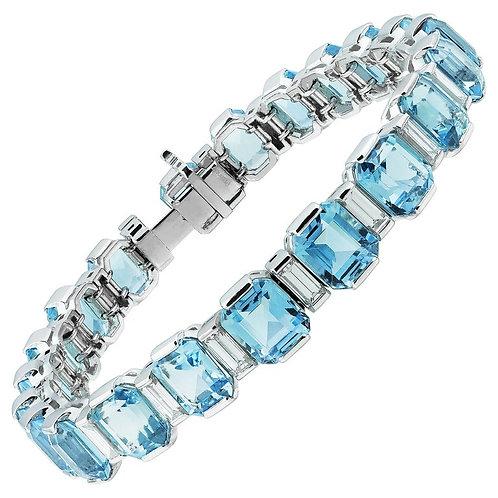 Art Deco Style Emerald Cut Aquamarine 34.0 ct & Diamond Line Bracelet, Platinum