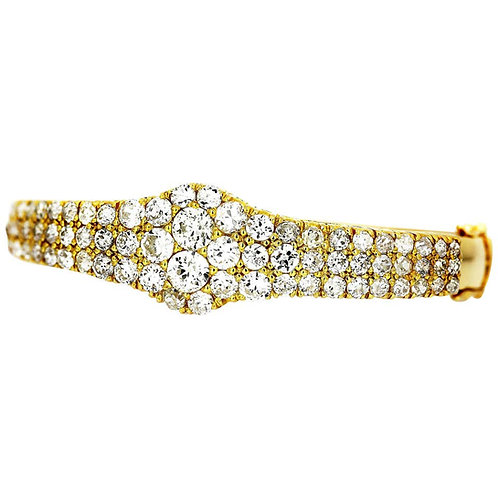 Old European Cut Diamond Three-Row Bangle, 7.50 Carat in 18 K Yellow Gold, Retro