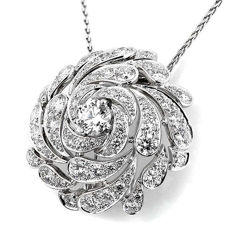 Cartier Designer Flora and Fauna, Platinum Diamond 'Flower-head' Brooch/Pendant