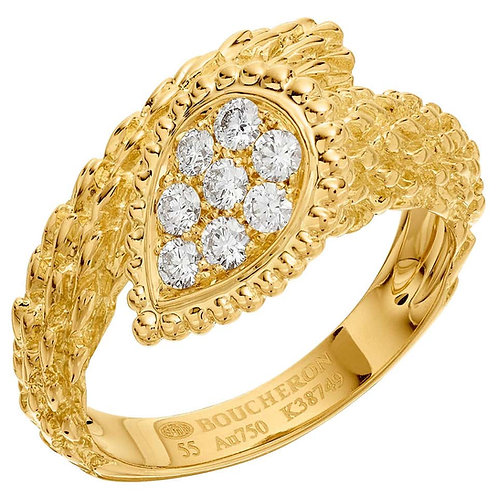 Boucheron Serpent Boheme Ring in 18 Karat Yellow Gold with Diamonds