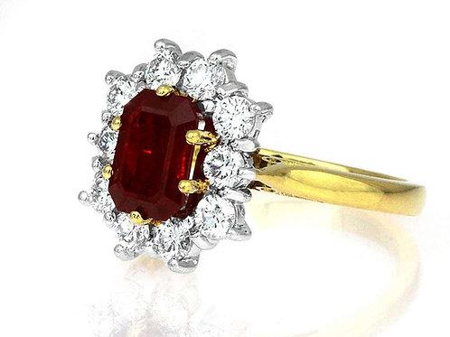 Certified Burmese (Myanmar) Ruby & Diamond Cluster ring in Bimetal 18K Gold