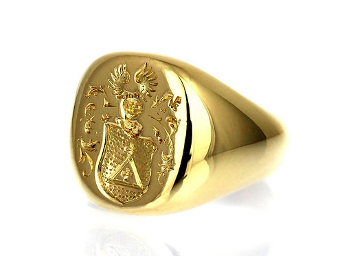 Vintage, Signet Seal Ring with Unidentified European Coat of Arms in 18 K Gold