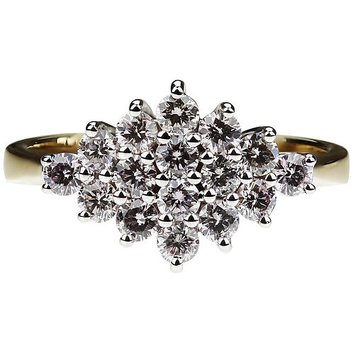 Natural Fancy Colour Pink Diamond Cluster Ring in 18K White & Yellow Gold