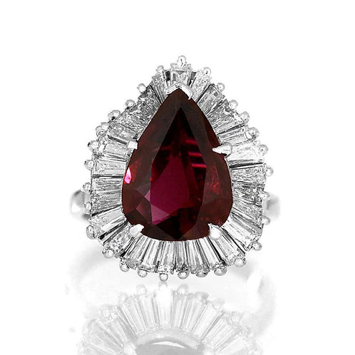 GCS Certified 3.6 ct Natural Ruby & Diamond Pear Shape Cluster Wave Ring