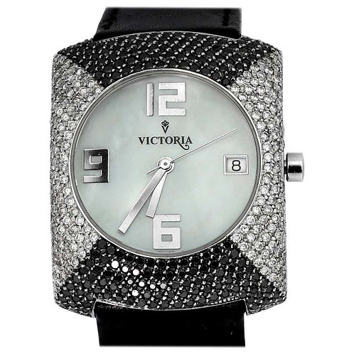 Victoria Strap Watch, Black and White Diamonds, Ladies, Mother of Pearl, Swiss