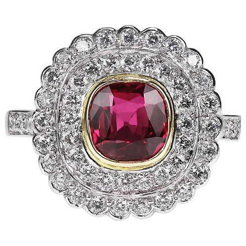Certified Natural Unheated Pigeon Blood Red Ruby 1.45ct & Diamond Cluster Ring