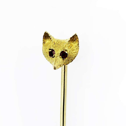 Vintage Stick/Tie Pin, Fox Head with Ruby Eyes set in 9 Carat Yellow Gold