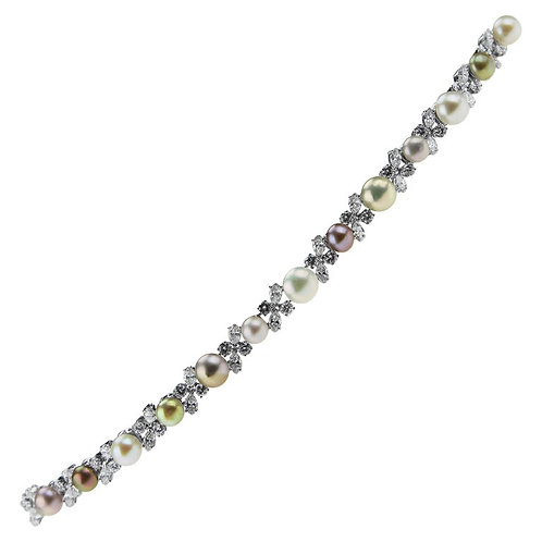 Gubelin Bracelet with Multi-Color Pearls and Diamonds in Platinum