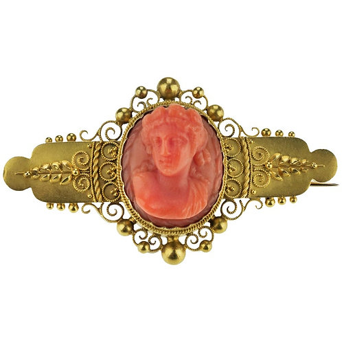 Antique English Etruscan Revival Coral Cameo Brooch in 15 Karat Gold