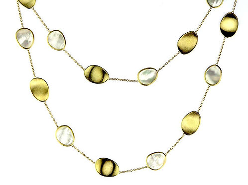 Marco Bicego Lunaria 18 Karat Yellow Gold White Mother of Pearl Long Necklace