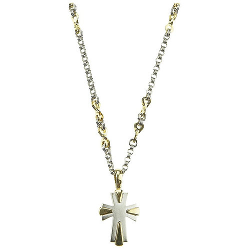 Zancan, Gents Chain with Cross Pendant & Tusk Charm in 18K White & Yellow Gold