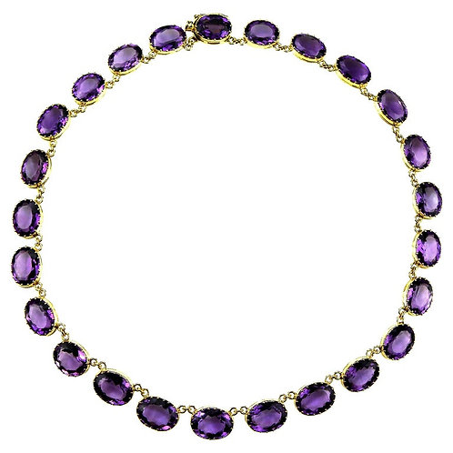 Retro Amethyst Rivière Necklace in 18 Karat Gold, Single-Row Classic Design