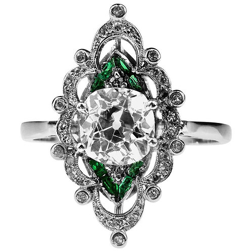 Antique Edwardian Old Cushion Cut Diamond 1.95 Carat and Emerald Platinum Ring