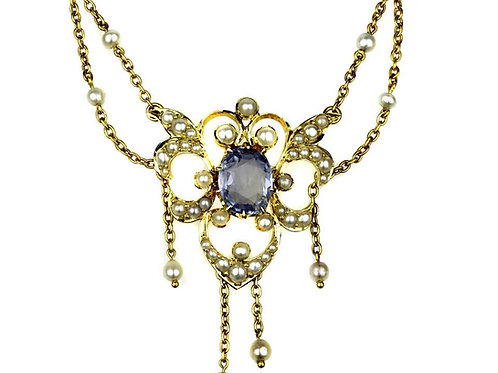 Antique Victorian Necklace with Natural Pearls and Sapphire in 15 Karat Gold
