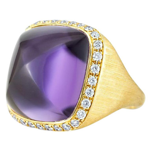 Designer Square Hand Curved Cabochon Big Amethyst & Diamonds in 18k Gold