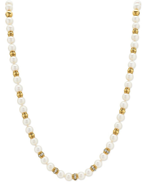 Single Strand Sea Water Cultured Pearl Necklace with Diamond & 18K Gold Beads