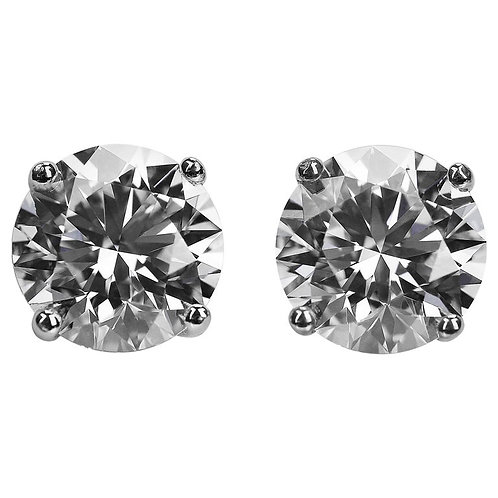 GIA Certified Round Diamond 3.59 ct D VS2 Single Stone Solitaire Stud Earrings