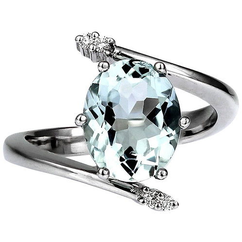 Sky Blue Aquamarine and Diamond Cross over Ring in 18 Carat White Gold