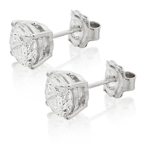 GIA Certified Solitaire Stud Round Brilliant Diamond Earrings total 3.60ct G VS2